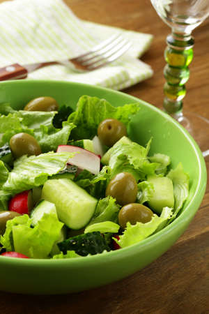 salad with tomato cucumbers and  green olive Stock Photo - 17695549