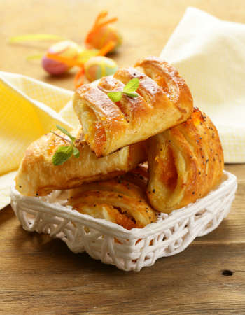 pastry crust: puff pastry with jam - sweet breakfast Stock Photo