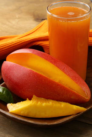 mango fruit: fresh mango juice and mango fruit Stock Photo