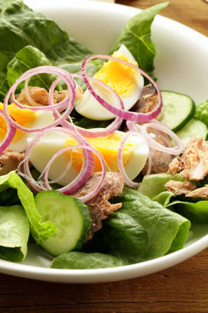 French salad Nicoise - with tuna and egg photo