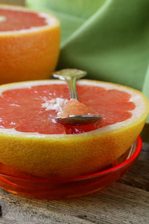 wholesome: ripe grapefruit, healthy wholesome breakfast