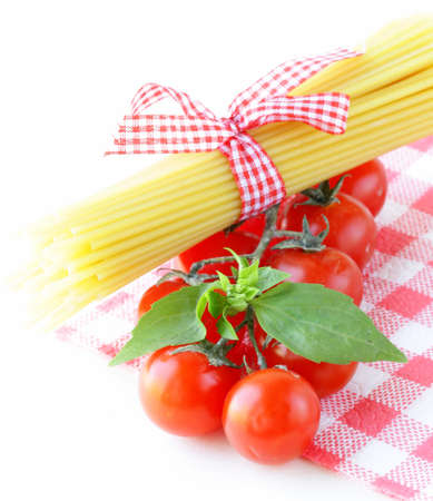 Italian still life - pasta, tomato and basil, healthy food photo