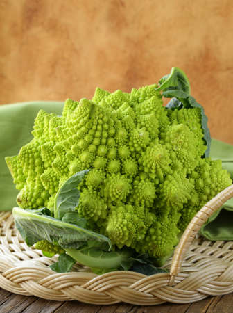 romanesco: Romanesco cauliflower on a wicker tray Stock Photo