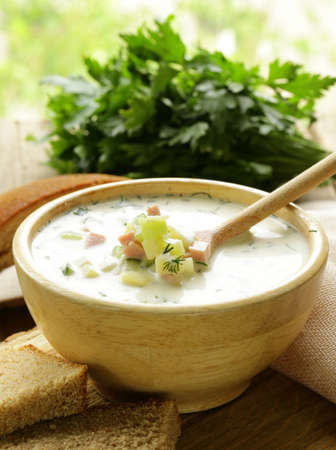 okroshka: Traditional Russian cold soup with vegetables  okroshka