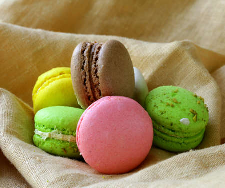 multicolored macaroon cookies, traditional French pastries photo