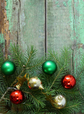 Christmas wooden background is green fir tree  branches photo