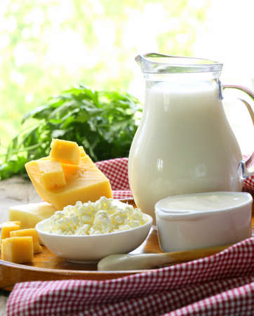 dairy products: still life of dairy products  milk, sour cream, cheese, cottage cheese