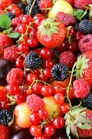 berry background is fresh and ripe fruit photo