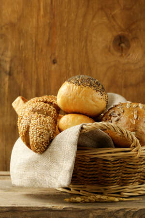 different types of bread  rye bread, white  loaf, bun  photo