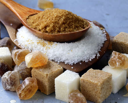refined: Various kinds of sugar, brown, white and refined sugar