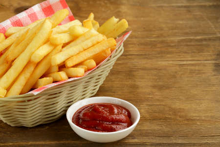 french fried potato: Traditional French fries with ketchup