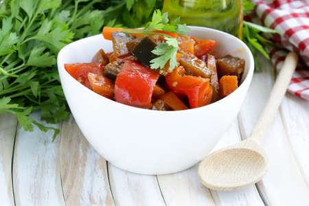 vegetable ragout  ratatouille  paprika, eggplant and carrots photo