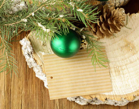 Christmas composition with fir twigs and decorations photo
