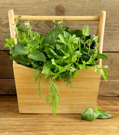 various herbs  basil, thyme, parsley, mint and dill  on wooden background photo