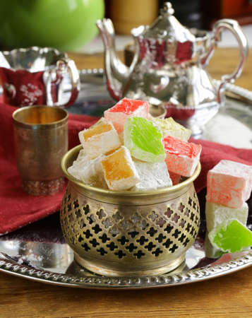 Turkish delight dessert   rahat lokum  different colors Reklamní fotografie
