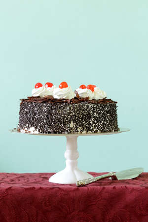 Chocolate cake with cherries and whipped cream  Black Forest  photo