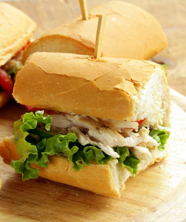 panini sandwich with chicken and vegetables on a wooden board photo