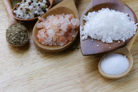 different types of salt  pink, sea, black, and with spices  Imagens
