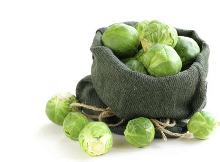 brussel:  fresh raw organic green brussel sprouts Stock Photo