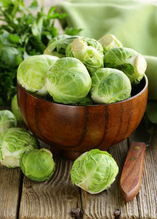 fresh raw organic green brussel sprouts Stock Photo