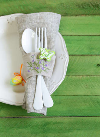 Easter table setting in a rustic vintage style photo