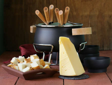 special set of utensils for cooking fondue  photo