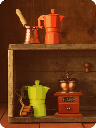 set of different kitchen utensils for coffee  old fashioned style  photo