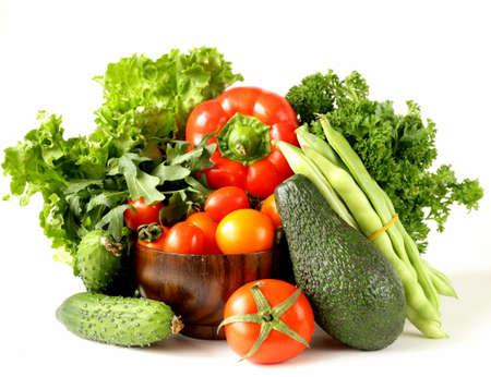 varios vehículos del aguacate, pepinos, perejil, pimiento, tomate
