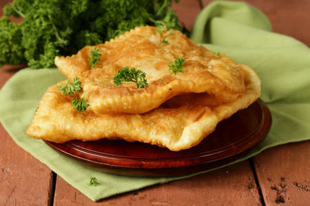 Traditional Asian food fried pies with meat  cheburek