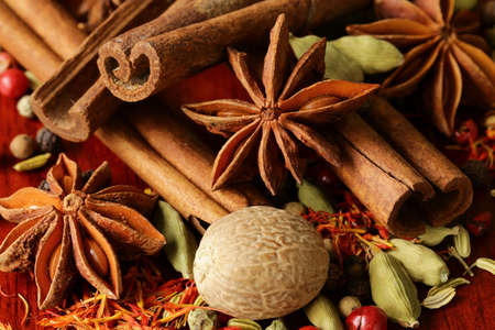 various spices  nutmeg, cinnamon, star anise, saffron, pepper, cardamom and  fennel
