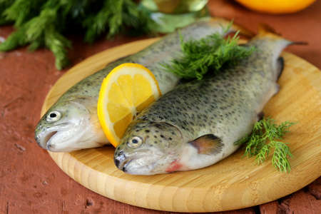 fresh raw trout fish on the kitchen board photo