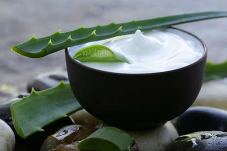 cosmetic cream lotion with natural green fresh aloe vera photo