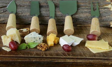 tabla de quesos: tabla de quesos con una variedad de quesos parmesano, queso brie, azul, queso cheddar