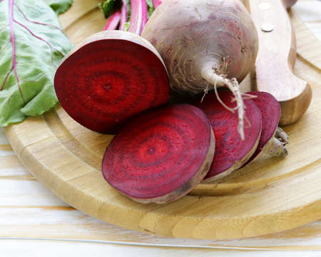 raw fresh organic beets with green leaves