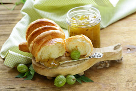 danish puff pastry: Breakfast croissant with fresh jam of green gooseberry