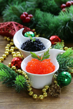 delicacy: festive appetizer delicacy red and black caviar, Christmas Still Life