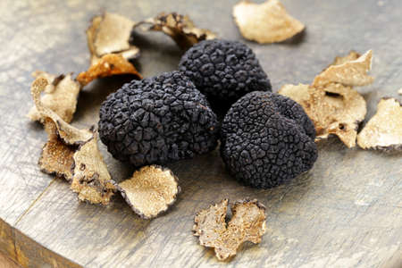 fresh vegetable: expensive rare black truffle mushroom - gourmet vegetable