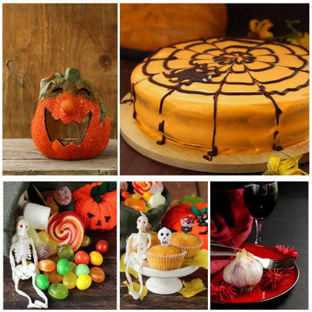 Set Halloween pumpkin,cake, treats and table setting photo