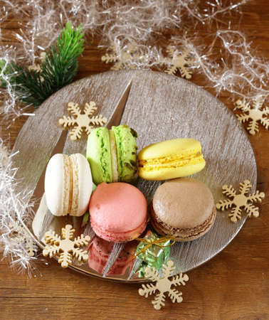 multicolor French macaroons sweet treats Christmas present photo