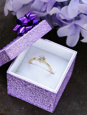 engagement party: gold ring with diamond for an engagement party Stock Photo