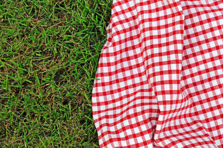 checkered plaid for picnic on green grass Banque d'images