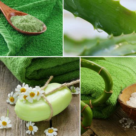 Set spa concept bamboo salt, natural soap and aloe leaves photo