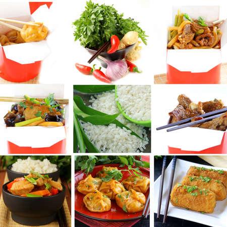Set menu of Chinese food and ingredients photo