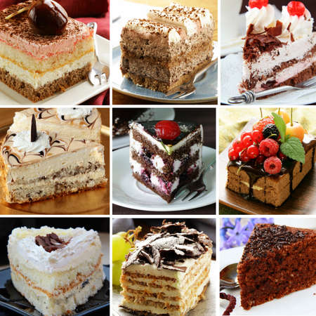 collage of different pieces of cake (vanilla, chocolate, Black Forest) photo