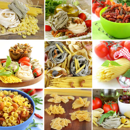 food preparation: collage of different kinds of italian pasta