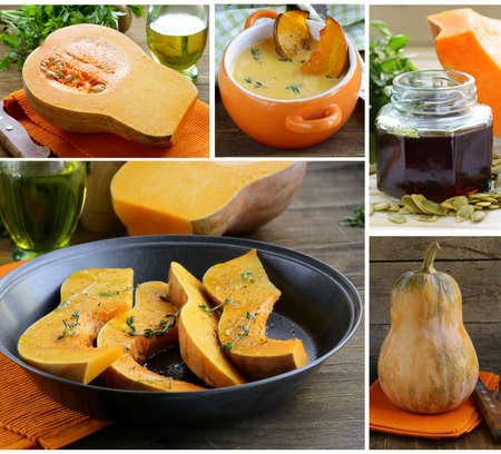 collage menu pumpkin dishes (soup, oil, baked) Stock Photo