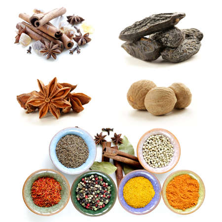 collage of various spices (cinnamon, anise, nutmeg) photo