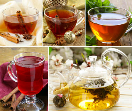 collage of assortment of tea in cups with herbs and spices photo