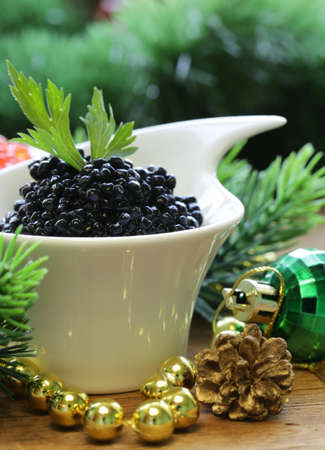 festive appetizer delicacy red and black caviar, Christmas Still Life photo