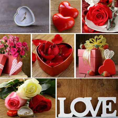 collage for the day of St. Valentine - flowers, hearts, gifts photo